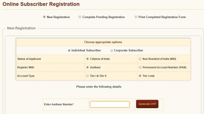 How to open NPS account online with Aadhaar card registration