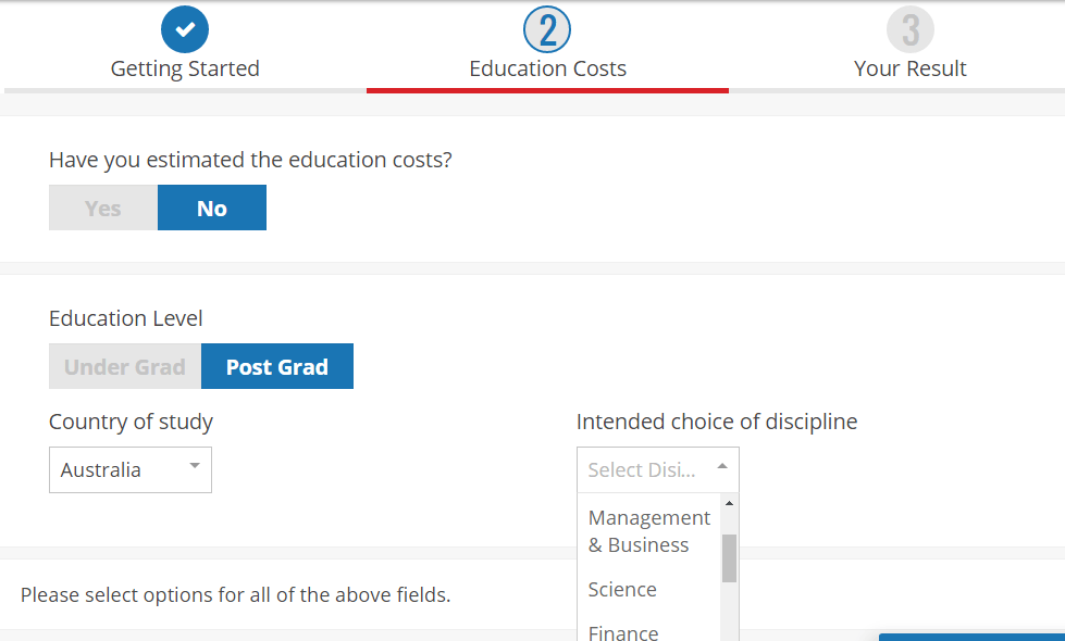 BigDecisions' Education cost planning calculator
