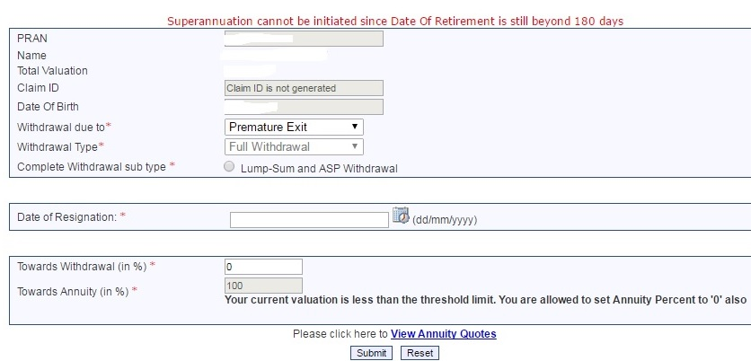 NPS How to exit NPS forms Central Government State Government CRA eNPS 4