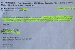 SBI NRE fixed deposit returning NRI