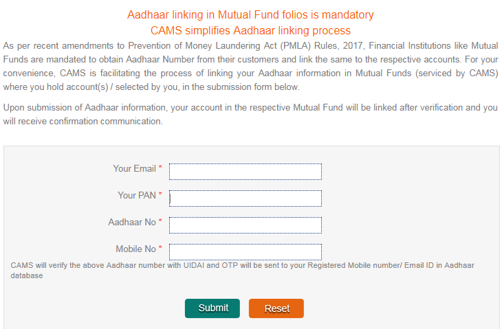 Link update Aadhaar Mutual Fund Investments Aadhaar number mutual fund investments